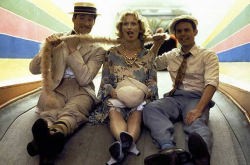 "Кевин Клайн, Мерил Стрип и Питер МакНикол на съемках фильма ""Выбор Софи"", 1982 год"