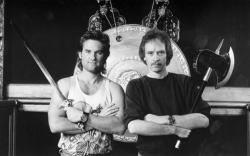 """Курт Рассел и Джон Карпентер на съемках фильма """"Большой переполох в маленьком Китае"""", 1986 год"""