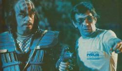 """Кристофер Ллойд и Леонард Нимой на съемках фильма """"Звездный путь 3: В поисках Спока"""", 1983 год"""