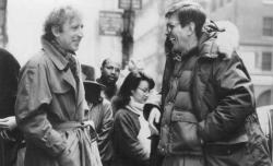 """Джин Уайлдер и Леонард Нимой на съемках фильма """"Странная штука – любовь"""", 1989 год"""
