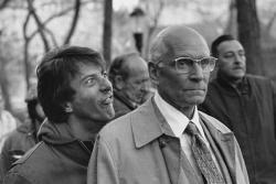 "Дастин Хоффман и Лоуренс Оливье на съемках фильма ""Марафонец"", 1976 год"