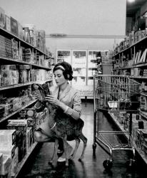 Одри Хепберн со своим олененком Пиппином в супермаркете в Беверли-Хиллз, 1958 год