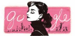 Одри Хепберн на праздничном логотипе Google