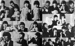 The Beatles поедают спагетти во время визита в Италию, 1965 год