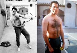 Фредди Меркьюри на теннисном корте, 1989 год