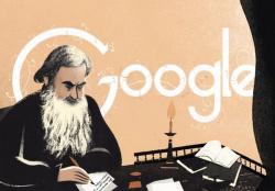 Лев Толстой на праздничном логотипе Google
