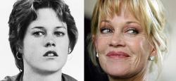 Мелани Гриффит в 1975 году и 2007 году